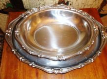 ORNATE REPOUSSE RIM LARGE OVAL TRAY WITH MATCHING DEEP DISH
